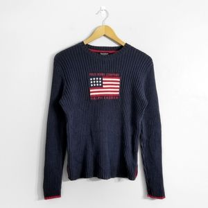 POLO RALPH LAUREN Navy Blue Ribbed Flag Sweater